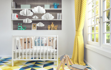 Children's room with cradle for baby 3d render 3d illustration