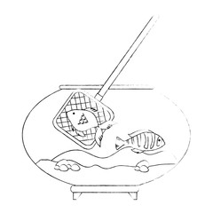 aquarium bowl with colors fish and fishing net vector illustration design