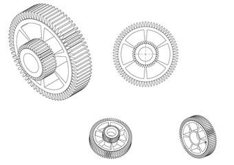 3d model of a cogwheel on a white