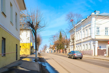 Serpuhov, Russia - April, 5, 2018: landscape with the image of Serpuhov, Moscow region