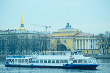 St. Petersburg, Russia - April, 17, 2018: city scape with the image of Neva embankment in St. Petersburg