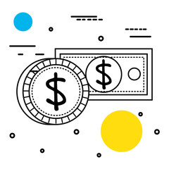 save money bills and coin vector illustration design