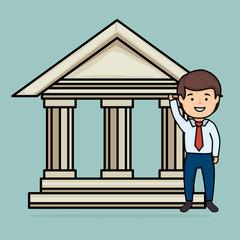bank building save money icon vector illustration design
