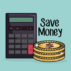 save money coins and calculator vector illustration design