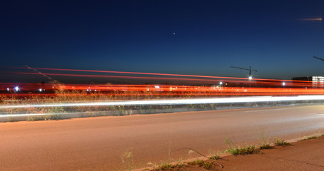 Night Traffic on Urban Road, Long Exposure
