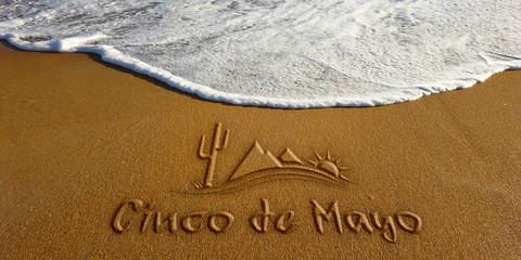 Cinco De Mayo Sand Wave Beach Text. Photo image