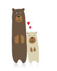 Funny bears family, sketch for your design