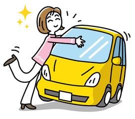 車に抱きつく女性