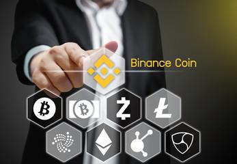 Concept of Binance Coin, a Cryptocurrency blockchain platform , Digital money