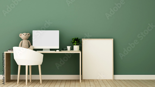 Study Room And Frame Picture For Artwork Kid Room Or Office   Workplace In  Office Or