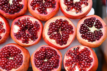 Pomegranate healthy background.