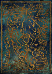 Golden Monkey symbol with sword, books, baroque decorated tree and mystic signs on blue texture background. Fantasy engraved illustration. Zodiac animals of eastern calendar