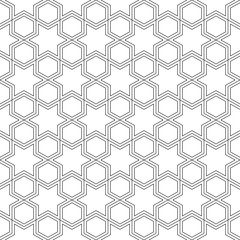 Pattern seamless abstract background white color and black line. Islamic geometric line vector.