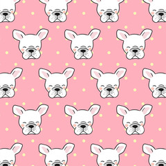 Vector illustration pattern background design head of french bulldog on pink pastel color and polka dot Draw doodle cartoon style