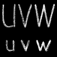 u, v, w handwritten white chalk letters isolated on black background, hand-drawn chalk font, back to school concept, stock illustration in high resolution