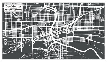 Des Moines USA City Map in Retro Style. Outline Map.