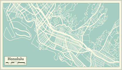 Honolulu USA City Map in Retro Style. Outline Map.