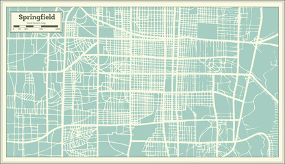 Springfield USA City Map in Retro Style. Outline Map.