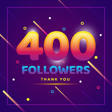 400 followers thank you colorful background and glitters. Illustration for Social Network friends, followers, Web user Thank you celebrate of subscribers or followers and likes