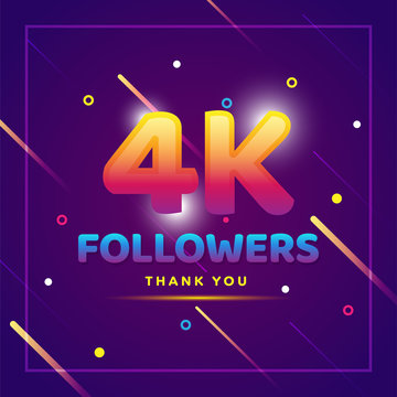 4k or 4000 followers thank you colorful background and glitters. Illustration for Social Network friends, followers, Web user Thank you celebrate of subscribers or followers and likes