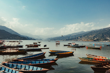 Boats  in the Phewa Lake in Pokhara