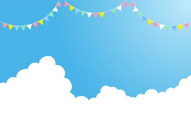 入道雲と青空(飾り付き) 背景イラスト