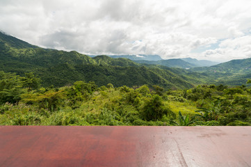 Panorama view sky and cloudy with mountain and wood board, view of nature in Khao Kho, Phetchabun Province. with copy space for text