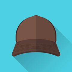 Baseball cap brown with mesh. Front view. On a blue background. Flat style. With a shadow. Old school. 10 eps
