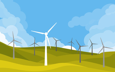 Windmills in green fields