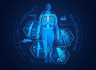 graphic of man's body x-ray with digital science interface of skeleton and bones scan for biological infographics