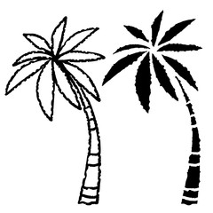 Coconut palm trees icons set