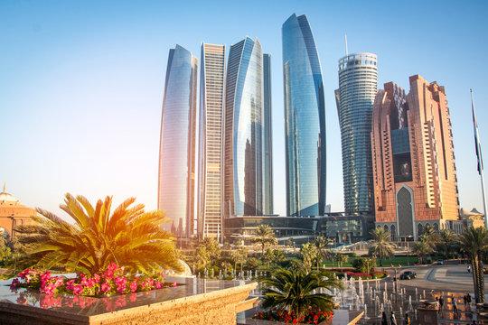 Skyscrapers in Abu Dhabi, United Arab Emirates.