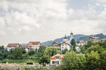 "Panorama town of ""Visegrad"" during the summer - Bosnia and Herzegovina"