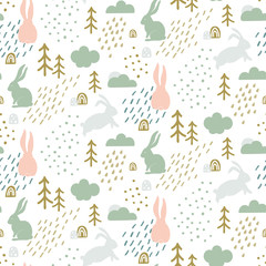 Seamless childish pattern with cute bunny silhouette in forest. Scandinavian style kids texture for fabric, wrapping, textile, wallpaper, apparel. Vector illustration