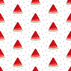 Bright seamless pattern with watermelon slices. Vector background. Colorful print for wallpaper, backdrop, fabric, etc.