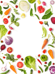Fototapete - Various vegetables and fruits isolated on white background, top view, flat layout. Concept of healthy eating, food background. Frame of vegetables with space for text.
