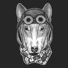 DOG for t-shirt design Hand drawn illustration for tattoo, emblem, badge, logo, patch Cool animal wearing aviator, motorcycle, biker helmet.