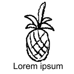 Pineapple sketch icon