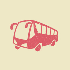 Bus vector icon in grunge style