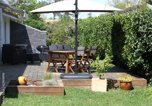 aménagement de la terrasse au jardin\