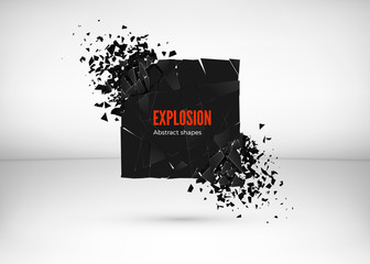 Shatter and destruction dark square effect. Abstract cloud of pieces and fragments after explosion. Vector illustration isolated on gray background