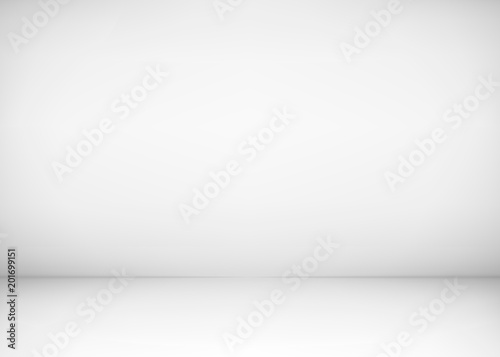 Empty Studio Room Interior White Wall And Floor Background Clean Workshop For Photography Or