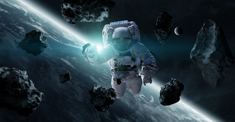 Astronaut floating in space 3D rendering elements of this image furnished by NASA