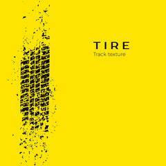 Dirt track from the car wheel protector. Tire track silhouette. Grunge tire track. Black tire track. Vector illustration isolated on yellow background