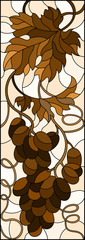 The illustration in stained glass style painting with a bunch of grapes and leaves ,brown tone, Sepia