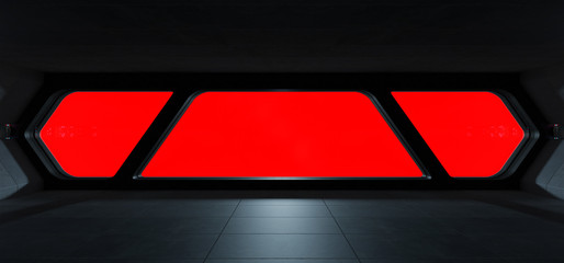 Spaceship futuristic interior with window view