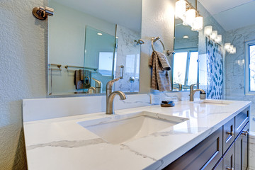 Luxury bathroom interior with blue dual washstand.