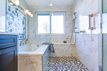 Luxury bathroom with Marble tile Surround