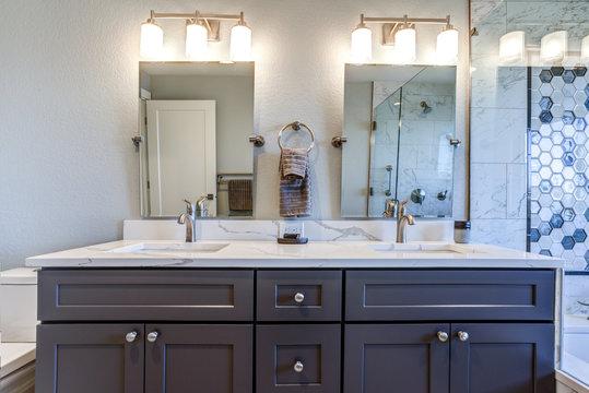 Luxury bathroom interior with blue dual washstand.