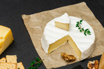 piece of French brie or camembert cheese on concrete background